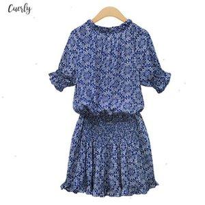 Popular New Fashion Summer Women Lady Blue Floral Dresses Elegant Mandarin Collar V Neck Elastic Flower Print Dress Designer Clothes