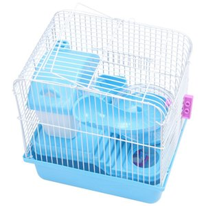 new-2 floors storey hamster cage mouse house with slide disk spinning bottle pet farm products supplies