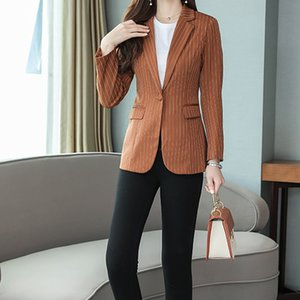 Fashion-Lady Womens Girl Girlish Fashion Formal Suit Casual Jacket Tailored Slim Suit Business Casual Striped 3 Colors B102295Z