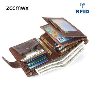 Zccmwx brand 2018 new men's wallet Multi-card crazy horse leather retro casual short coin purse Clutch bag leather men's bag