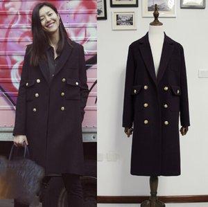 New Fahion Noir 2020 Automne / hiv femmes trench à double boutonnage doublure matelassée Manteau en laine chaud épais vêtement casaco Feminino Marque