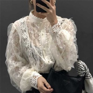 Corea camisa de manga larga de la vendimia de las mujeres de costura del cordón del collar del soporte de la perla del botón blusa suelta tapas de las mujeres Blusas Mujer