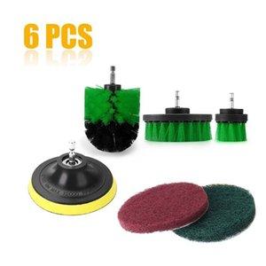 6pcs / set taladro eléctrico Llantas cepillo de limpieza kit de plástico Cepillo redondo para la alfombra de cristal del coche de nylon Cepillos de energía depurador taladro