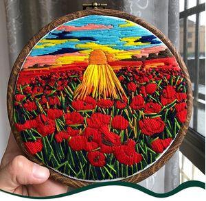 nueva bordado 3D de la manera caliente novato bordado creativo manual de bricolaje paisaje secreto de punto de cruz bolsa de material de