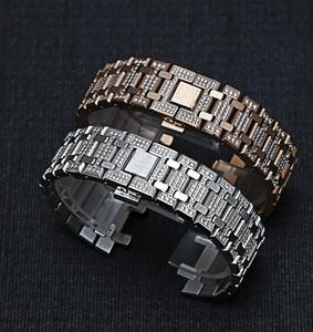 ap15400을위한 손목 시계 26mm 남성 여성 다이아몬드 스테인레스 스틸 시계 밴드 팔찌를 들어 AP ROYAL OAK 스트랩 폴딩 버클