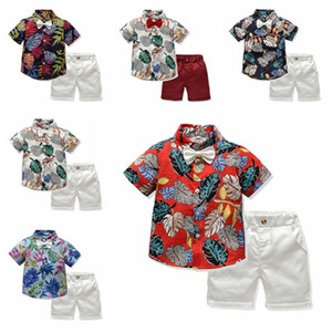New fashion baby boys floral suit V-neck short sleeve shirt+shorts pant 2pcs clothing set kids boy summer casual outfit
