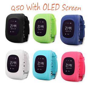 Q50 LBS OLED GPS para los niños inteligentes SmartWatch reloj SOS Segura Llamar Ubicación del localizador del buscador rastreadores para niños de los niños perdido anti monitor