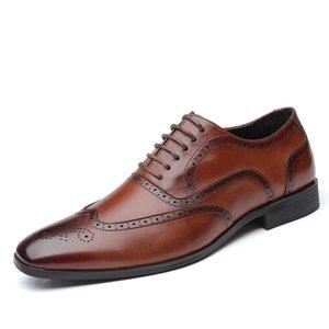Oxford hombres de cuero de zapatos de vestir punta estrecha manera de los hombres de negocios Pisos Hombres 2020 tamaño grande Oficina Brown Negro Zapatos