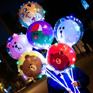 LEVOU Bobo Dos Desenhos Animados Balão Bola Luminosa Luminosa Transparente Balões Brinquedos Piscando Balão com Vara para Festa de Casamento Decoração Do Festival