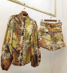 2020 ilkbahar ve yaz yeni stil Retro Sarayı tarzı keten baskılı gömlek, bel kısa moda elbise kadın