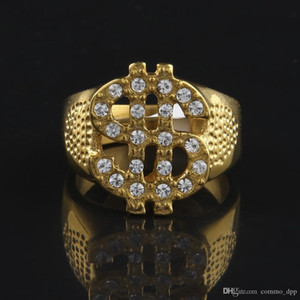 Stainless Steel Iced Out Bling Bling Rings Gold Color Us Dollar Sign Signets Rings For Men Women Rock Hip Hop Jewelry Gift