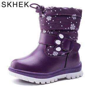 SKHEK Inverno Bambini caviglia peluche stivali per le ragazze piatto con gomma Snow Boots Ragazzi impermeabile antiscivolo Scarpe 1612 S200107