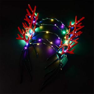 Natal led chifres luminosos headband led cabeça da lâmpada decoração da festa de natal das crianças do presente brinquedos luminosos crianças brinquedo