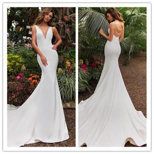 2019 New Heavy Handworks Luxury Pearls Mermaid Wedding Dresses V neck Gorgeous Sleeveless Beading white Bridal Gowns Sweep Train Customize