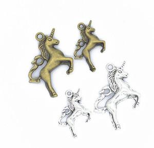 100 Adet / grup Antik Gümüş Kaplama Unicorn At Charms Kolye Bilezikler Kolye Takı Bulguları Aksesuar Yapma Zanaat DIY 27x20mm