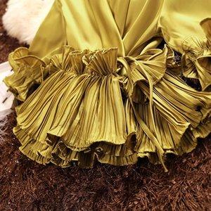 Amolapha Femmes d'été Soild Décolleté en V manches lacées Volants Papillon satin Blouses Chemises Y200403