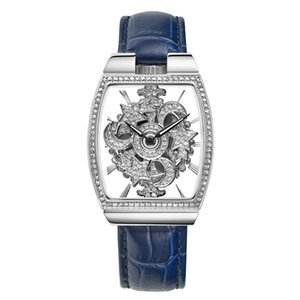 FUYIJIA Nouveau Creux Quartz Montres Femme Full Diamond 360 Degrés Tournant Montre Type De Baril Femme Montre En Cuir Horloge Imperméable À L'eau