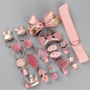 18 Pcs Box New Kids Children Accessories Hairpins Barrettes Baby Fabric Bow Flower Headwear Hair clips Girls Headdress