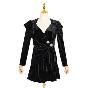 2020 Spring Long Sleeve V Black Solid Patchwork Buttons Short Mini Fashion Runway Dresses Vestidos QYM10 TDR222167Q
