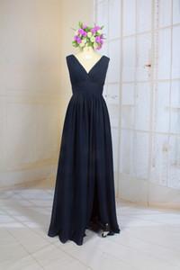 линия синий V и Глубокий V Открытый Вернуться шифон длинное невесты платье с боковым High слите
