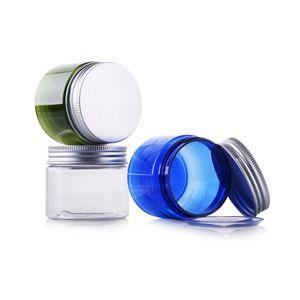 Frasco de 50 ml 50g Frasco De Plástico Transparente Frascos de vidro vazios Frascos De Embalagem redondos de Alumínio Tampa De Plástico Verde/Azul caixa de embalagem 30 pc/lote