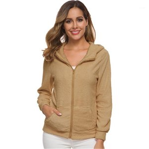 Cashmere Cardigan Jacket Fashion Winter Solid Color With Pocket Jacket Female Warm Zipper Coats Womens Plush Hooded Sweater Designer Fleece
