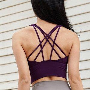 CretKoav Yaz Yeni Çoklu Omuz Kayışı Çapraz Kadınlar Yoga Sütyen Orta Mukavemet quakeproof Spor Bras Jimnastik Eğitimi Spor Sütyen Yelek