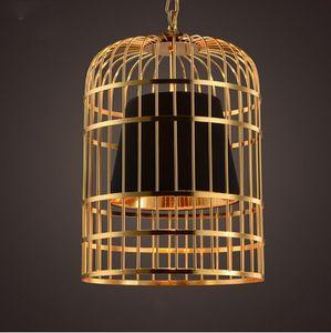 Moderno Led piastra oro cromato Birdcage Led Pendant Light Bar Ristorante PVC sfumature E27 Deco Vintage catena lampada a sospensione LLFA