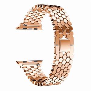 Fisch-Skala-Muster Ersatz Edelstahl Robuste Uhrenarmband Schleifenband für Apfel-Uhr-Serie: 5 4 3 2 1 38 mm 42 mm 40 mm 44 mm