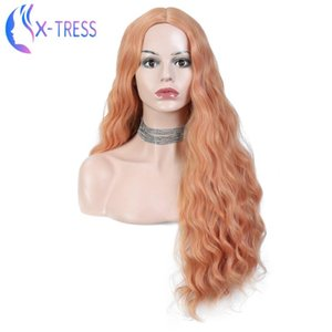 X-TRESS Fashion Synthetic Orange Wig Long Water Wave with No Bangs Heat Resistant Hair for White Black Women Daily Party Cosplay