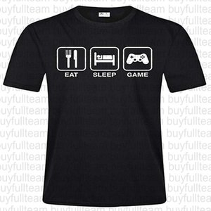 Eat Sleep Game Repeat Mens Black Short Sleeves Tops Fashion Round Neck T Shirts Size S M L XL 2XL 3XL