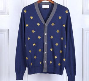Sweater Cardigan Männer Männliche beiläufige dünne Pullover Männer Bee Stickerei mit V-Ausschnitt Herren-Pullover New
