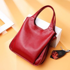 DIENQI cow genuine leather bag ladies winter women's leather handbags big female shoulder bag red hand bags for women 2019 T190913