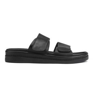 Mens Summer Fashion Thick Platform Beach Slippers Genuine Leather Sandals Hook Loop Indoor Footwear Slip On Casual Male Shoes