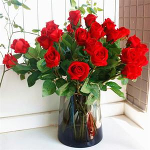 """Sahte Tek Uzunluk Simülasyon Kadife Güller Düğün Ev Dekoratif Yapay Çiçekler için Rose 18.5"""" Stem"""