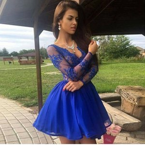 A-Line Homecoming Dresses Short V-Neck Sexy Long Sleeve Knee Length Cocktail Party Dresses Lace Royal Blue Graduation for Prom Dresses