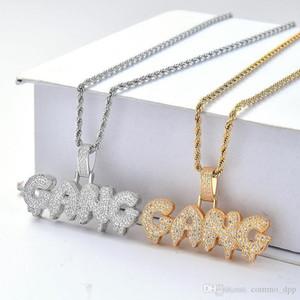 Uomini S fuori ghiacciato Gang Collane Bling Cz Bubble Lettera Ciondolo in oro argento ritorto corda catena per le donne monili di Hip Hop regalo