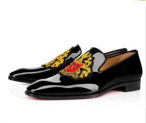 Sapatos de Casamento dos homens Designers de Luxo Mocassins de Fundo Vermelho Business Dress Shoes, couro de Patente Preto loubiflat para sempre 35-46