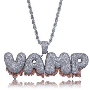 Custom Name Iced Out Blase Magma Letters Halskette Herren Frauen KubikZircon Bling Halskette Hip Hop Schmuck Hals Geschenke