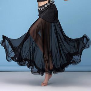 Ventre noir danse jupe-parole longueur Jupe Bellydance pour les femmes Flamenco Jupes Fish Tail Oriental Belly Dance longue