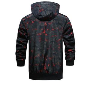 Designer de Moda Camouflage Grosso Casacos com capuz manga comprida Homens Coats Primavera Mens Outwear com Zipper