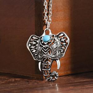 Elephant Collane Boho Antico Girocollo epoca scolpita Elephant delle articolazioni delle dita anelli 8pcs / set Bohemian Turchese indiani gioielli e accessori