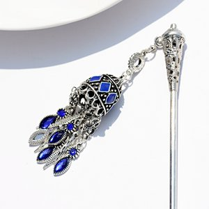 Cheap Hair 2019 Women's Ethnic Blue Bell Hairpins Indian Jewelry Traditional Hollow Tassel Hair Sticks Jewelry Fashion Hairwear