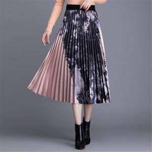 Saias 2021 verão mulheres moda tinta pintura impressão plissada longa temperamento mulheres high cintura casual saia vestidos
