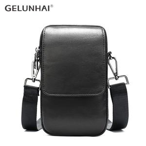 GELUNHAI de moda bolsa de la cintura genuina del cuero multifunción teléfono móvil pequeño bolso de los hombres de ocio deportivo bolsos de hombro Crossbody