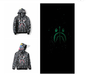 Autumn Sweater Luminous Star Shark Long -Sleeved Hooded Jacket Hip -Hop Men &#039 ;S Sweater Cardigan Hoodies Sports And Leisure Street Hoo
