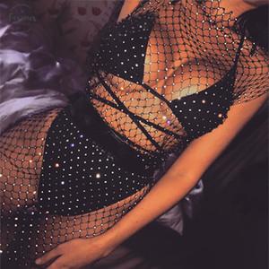 Кристалл алмаза Mesh платье Sexy Bodycon платье империи Женщины выдалбливают сеточку Summer Beach консольно-Ленг Прозрачная партия Vestidos