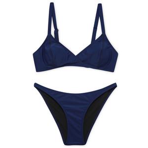 Maillots de bain en gros pour femmes Bikini de nouvelle couleur pure et de maillots de bain simples et scindés