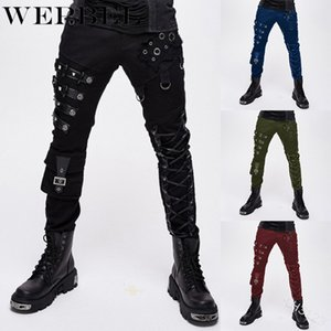 WEPBEL Mujeres Moda punk lápiz de los pantalones Mujeres Pantalones Ropa gótica con decoración de metal de la roca de la cremallera de los pantalones