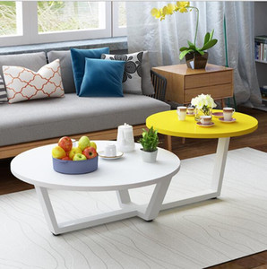 Sala de estar creativa redonda Mesa redonda pequeña moderna Mesa de té nórdico Mini mesa combinada de unidad pequeña simple